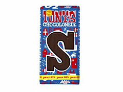 Tony's Chocolonely chocoladeletter S (puur)